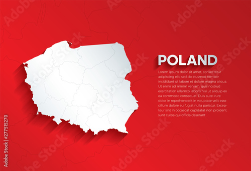 Poland Map with shadow Canvas Print