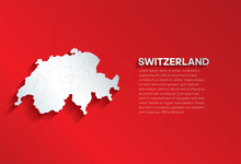 Switzerland Map With Shadow. Cut Paper Isolated On A Red Background. Vector Illustration.