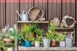 Dekoration mit Werkzeug und Gegenständen für den Garten