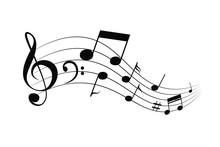 Waving Notes And Melody Vector...