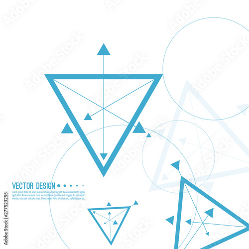 Abstract tech background with geometric symbol triangle with arrows, circle. Concept new technology and dynamic motion. Wall mural