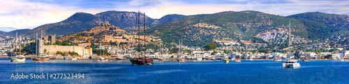 Bodrum, Turkey. Panoramic view of old town and marine