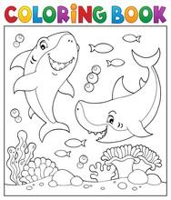 Coloring Book Sharks Underwater 1