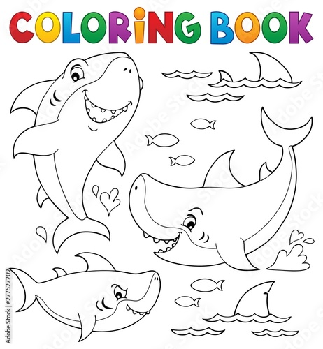 Fotobehang Voor kinderen Coloring book shark topic collection 1