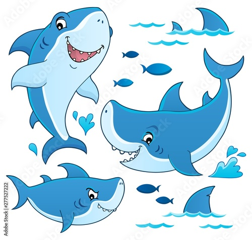 Deurstickers Voor kinderen Shark topic collection 1