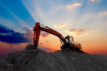 Silhouette Excavator Working O...