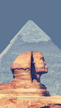 Great Sphinx And Egyptian Pyramid