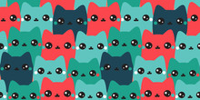 Colorful Hand Drawn Cats. Vector Seamless Pattern. Abstract Art Background. Animals Collection. Cute Kittens.