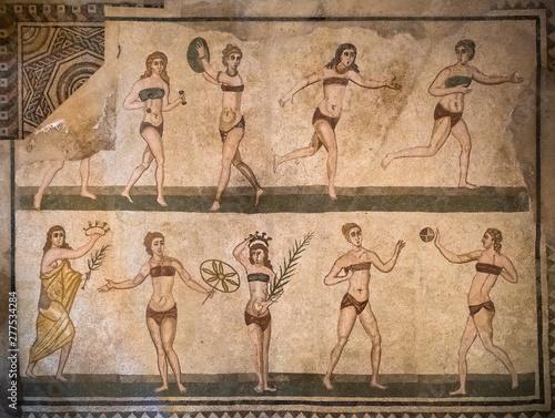 Bikini girls mosaics in Villa Romana del Casale, Piazza Armerina, Sicilia, Italy.