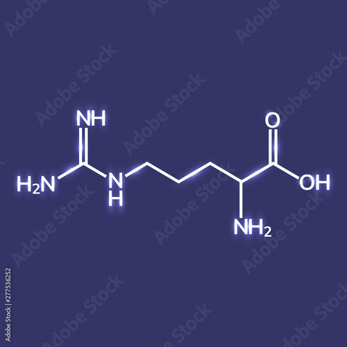 Fotografie, Tablou Shining arginine chemical formula on blue background