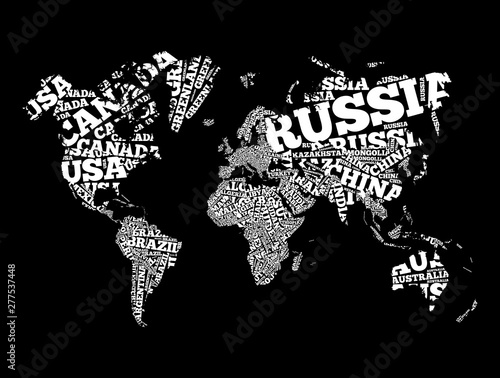 Fototapety, obrazy: World Map in Typography word cloud, names of countries, education business concept