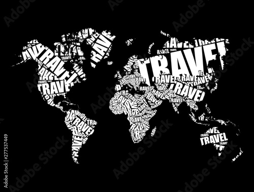 Fototapety, obrazy: TRAVEL word in shape World Map Typography, words cloud business concept background