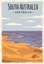 South Australia Retro Poster Travel Illustration. States Of Australia Greeting Card.