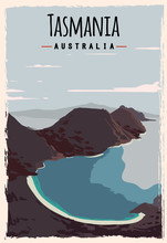 Tasmania Retro Poster. Tasmania Travel Illustration. States Of Australia Greeting Card.