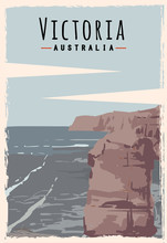 Victoria Retro Poster. Victoria Travel Illustration. States Of Australia Greeting Card. Twelve Apostles Beach.q