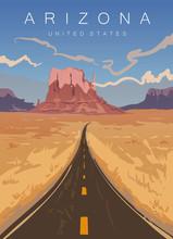 Arizona Modern Vector Illustration. Road In The Arizona Desert,United States.