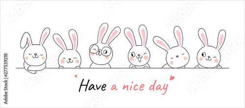 Cuadros en Lienzo Draw banner cute rabbit with word have a nice day.