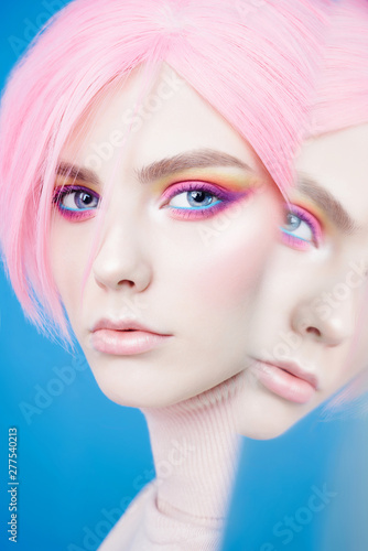 Poster womenART Art fashion studio portrait of beautiful redhead woman with modern makeup.