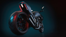 Bigbike Motorcycle On The Backdrop Of Blue And Black. 3d Render And Illustration.
