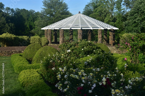 Exterior view of the gazebo and the rose garden at Deep Cut Gardens, Middletown, Canvas Print