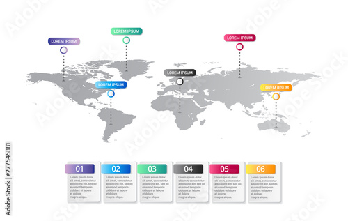 Cuadros en Lienzo world map Infographic template with icons options
