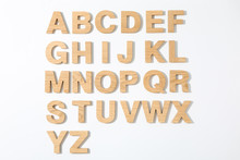 Wooden Letters Of English Alphabet On White Background, Top View