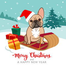 Cute French Bulldog Puppy Sitting On Sled Wearing Santa Hat With Christmas Gifts Around, Snowy Hills With Trees In Background, Snow Falling. Christmas For Pets, Dog Lovers Theme Cards, Posters.