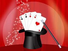 Playing Cards In The Magician's Hat