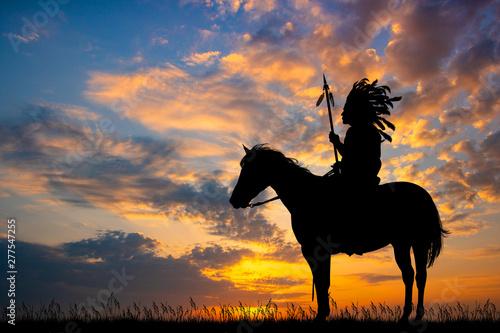 Fototapeta indian man at sunset obraz
