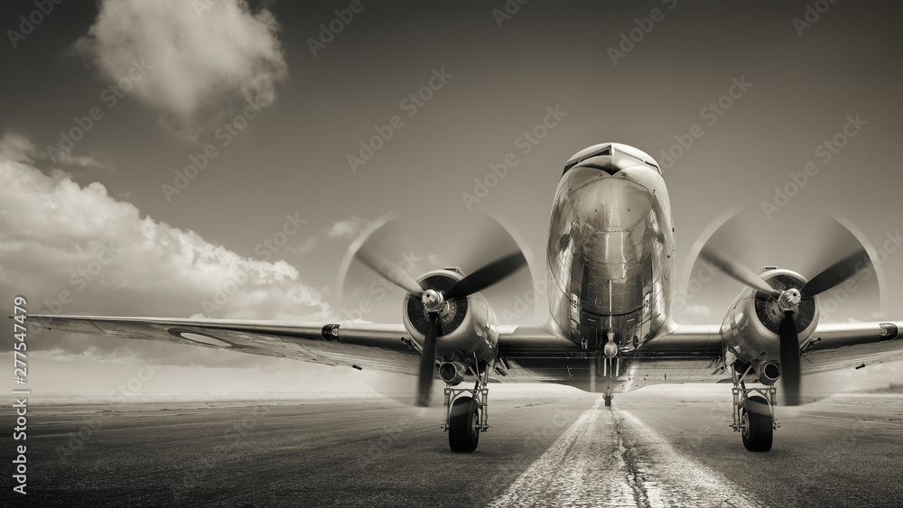 Fototapety, obrazy: historical aircraft on a runway
