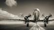 Leinwandbild Motiv historical aircraft on a runway