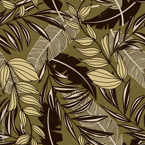 Printed kitchen splashbacks Watercolor Nature Abstract tropical seamless pattern with colorful leaves and bright plants on brown background. Vector design. Jungle print. Floral background. Printing and textiles. Exotic tropics. Fresh design.