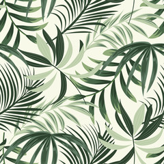 FototapetaTrending bright seamless background with colorful tropical leaves and plants on light background. Vector design. Jungle print. Floral background. Printing and textiles. Exotic tropics. Fresh design.