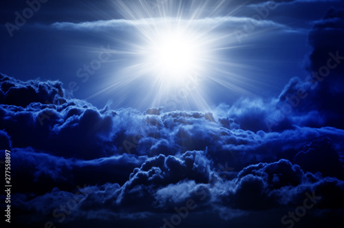 Fototapety, obrazy: Night sky with clouds and big star. Explosion of big star