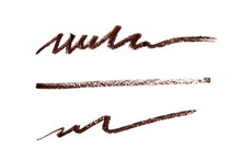 Brown Color Cosmetic Pencil Strokes On Background. - Image