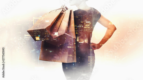 Double exposure of shopping Poster Mural XXL
