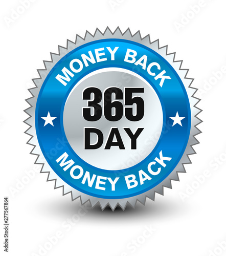 Fototapeta Blue and silver color combined powerful 365 day money back guarantee badge/seal