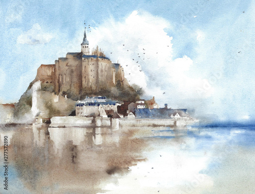 Türaufkleber Himmelblau Saint Michel cathedral France landmark church temple landscape watercolor painting illustration