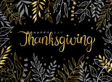 Happy Thanksgiving Gold Text W...