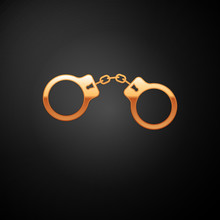 Gold Handcuffs Icon Isolated O...
