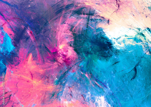 Naklejki Malarstwo cold-multicolor-beautiful-futuristic-pattern-abstract-painting-bright-color-texture-bright-modern-artistic-motion-background-fractal-artwork-for-creative-graphic-design