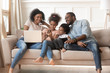 African parents and kids obsessed addicted to gadgets at home