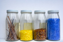 Jars Of Pulled Cane And Frit Glass Blowing Supplies