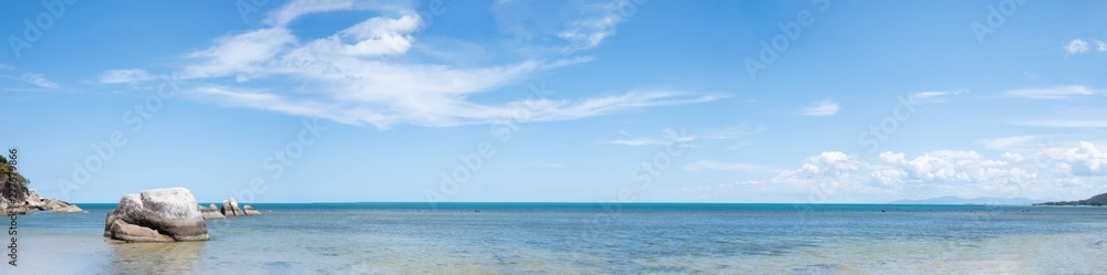 Fototapety, obrazy: Panorama view of Blue Sky with White Clouds and Sea Background.