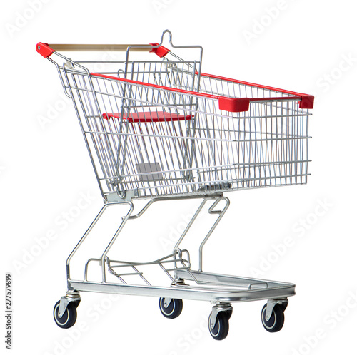 Obraz na plátne shopping cart trolley for supermarket isolated on white background