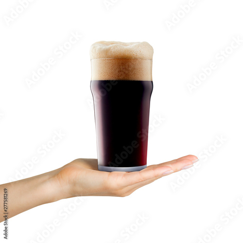 Cuadros en Lienzo Woman hand holding mug of beer with foam on white background