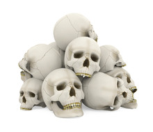 Pile Of Skulls Isolated
