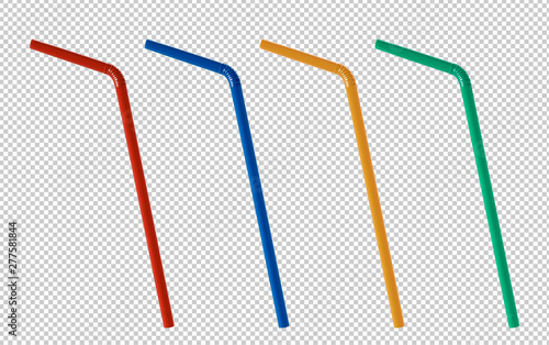 Obraz na plátně Colorful flexible plastic straws isolated on transparent background including clipping path