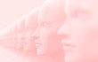 canvas print picture Abstract background with many identical out-of-focus female doll faces, one of which is in focus 3D illustration