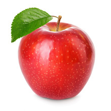 Red Apple With Green Leaf Isol...